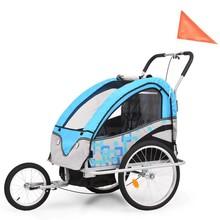 Fietskar voor kinderen en wandelwagen 2-in-1 blauw en grijs