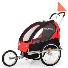 Fietskar voor kinderen en wandelwagen 2-in-1 zwart en rood