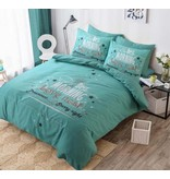 Cotton Club Dekbedovertrek Love Nest Turquoise