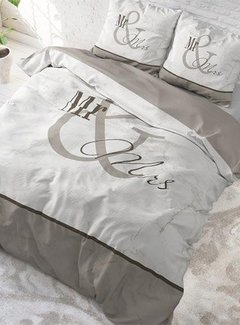 Dreamhouse Bedding Dekbedovertrek Mr and Mrs Marble Taupe