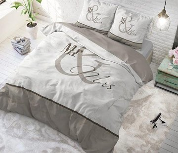 Sleeptime Pure Cotton Dekbedovertrek Mr and Mrs Marble Taupe