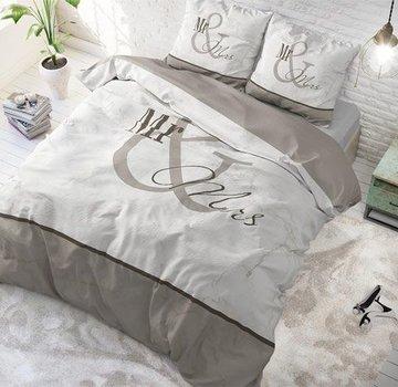 Dreamhouse Bedding Dekbedovertrek Mr and Mrs Marble Taupe