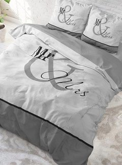 Dreamhouse Bedding Dekbedovertrek Mr and Mrs Marble Grey