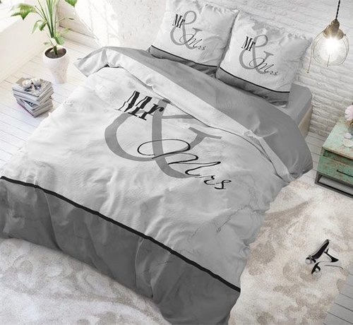 Sleeptime Pure Cotton Dekbedovertrek Mr and Mrs Marble Grey