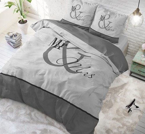 Sleeptime Pure Cotton Dekbedovertrek Mr and Mrs Marble Antraciet