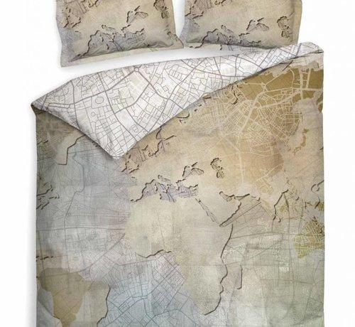 Heckett & Lane Dekbedovertrek Katoen Wereldkaart