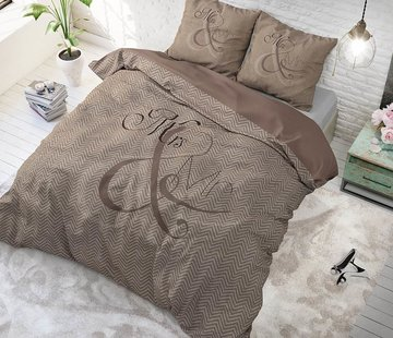 Sleeptime Pure Cotton Dekbedovertrek Mr and Mrs Knitted Taupe