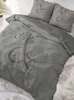 Sleeptime Pure Cotton Dekbedovertrek Mr and Mrs Knitted Antraciet