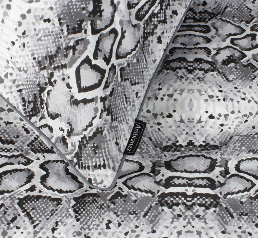 Katoenen Dekbedovertrek Slangenprint Grijs