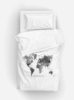 Essara Dekbedovertrek Wereldkaart Wit