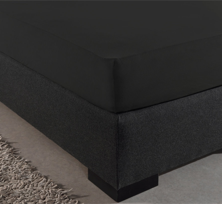 Dubbel Geweven Jersey Hoeslaken - Zwart