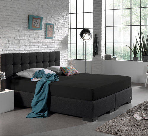 Home Care Dubbel Geweven Jersey Hoeslaken - Zwart