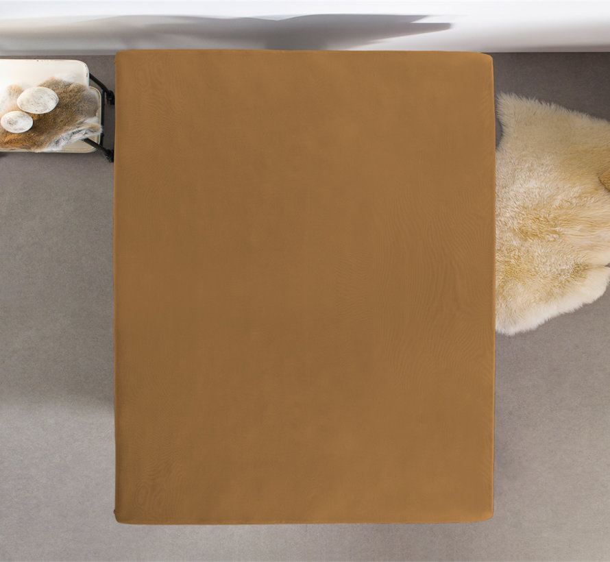 Dubbel Geweven Jersey Hoeslaken Taupe / Licht Bruin