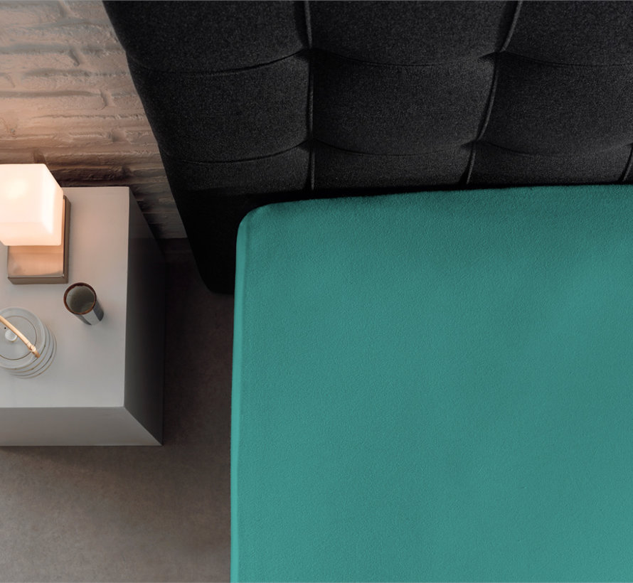 Dubbel Geweven Jersey Hoeslaken Turquoise