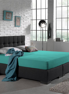 Home Care Dubbel Geweven Jersey Hoeslaken Turquoise