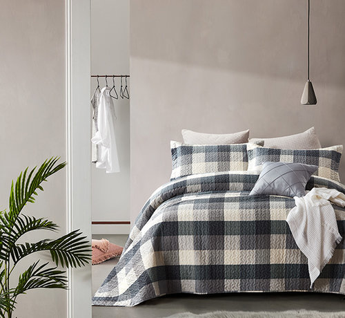 Dreamhouse Bedding Bedsprei Luxury Check Grey
