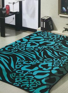 Overige Merken Zebra/Panter Deken Turquoise