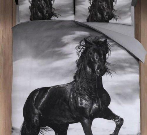 Cotton Club Dekbedovertrek Paard Zwart
