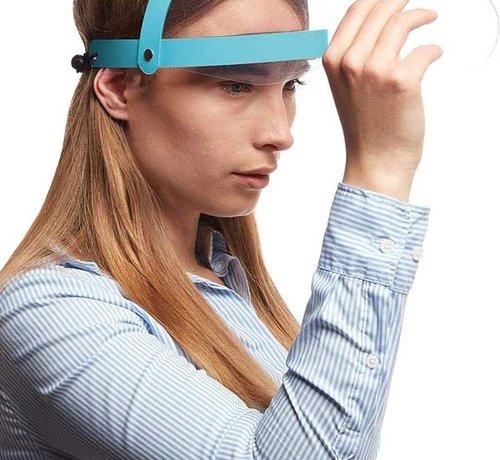 Overige Merken Blauwe Faceshield Opklapbaar - Gezichtsmasker - Gezichtsbeschermer - Gelaatsscherm