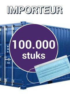 Overige Merken Groothandel Mondkapjes 3 Laags 100.000 stuks voor €2500 - vanaf €0,02 per mondkapje