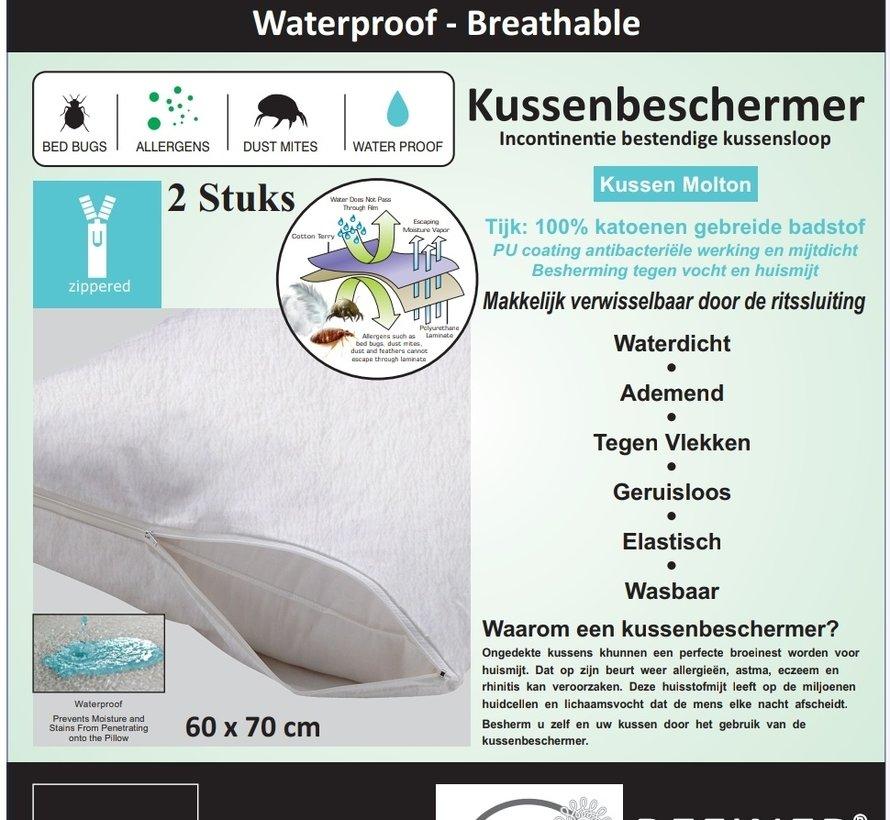 Molton Kussensloop Waterdicht - 2 Stuks