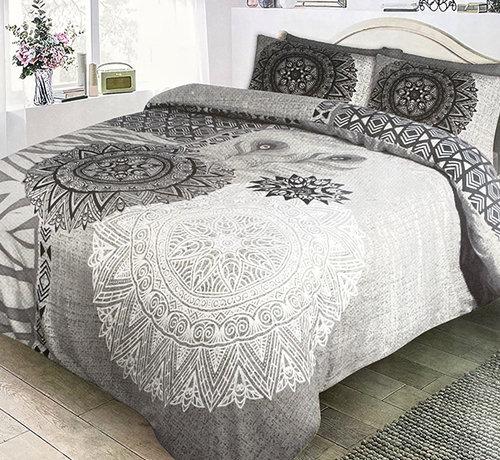 Refined Bedding Dekbedovertrek Flanel Mandala Grey White