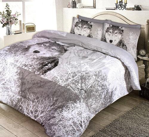 Refined Bedding Warm Flanellen Dekbedovertrek Wolf Forest