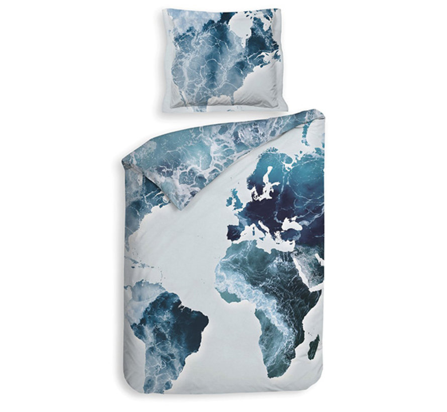 Katoen Satijnen Dekbedovertrek Camil Continent Blue