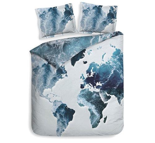Heckett & Lane Katoen Satijnen Dekbedovertrek Camil Continent Blue