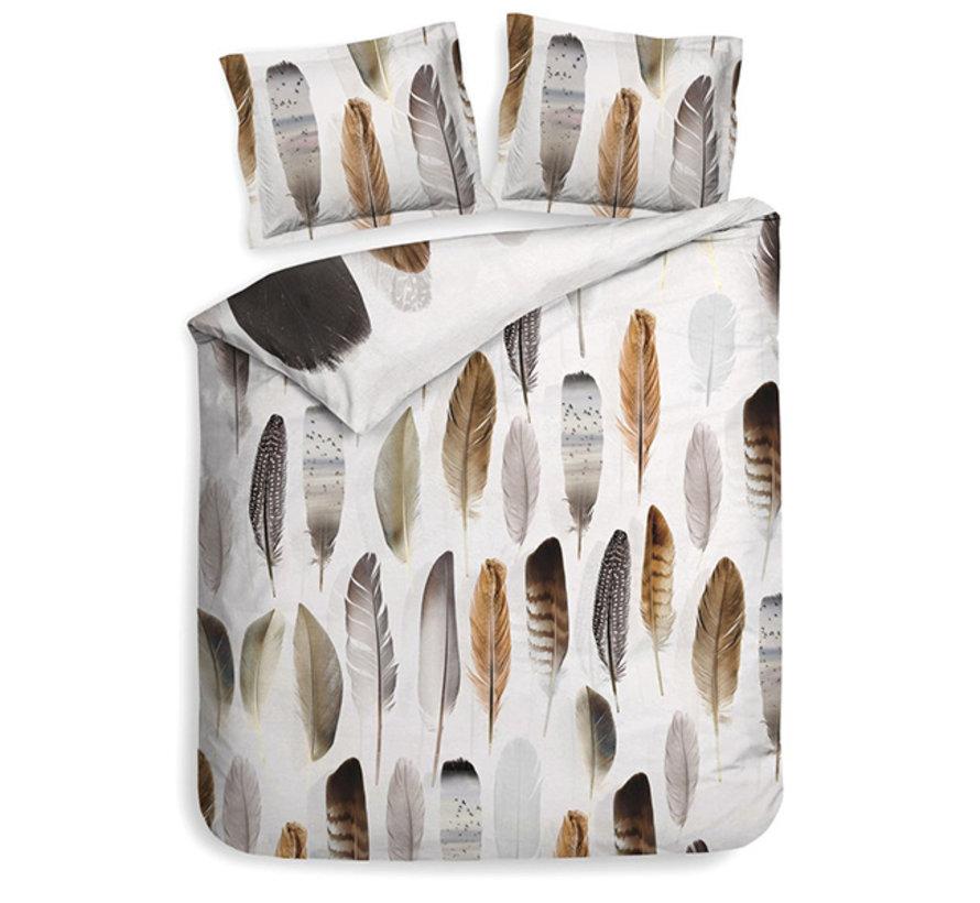 Katoen Satijnen Dekbedovertrek Loza Feathers Root Brown