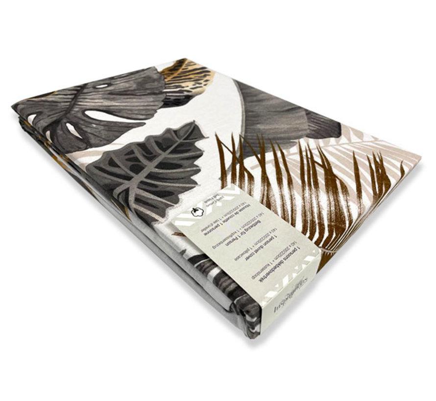 Katoenen Dekbedovertrek Jungle Style White
