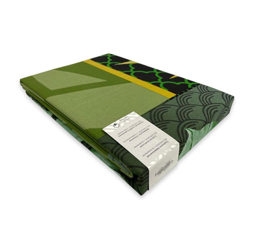 Katoenen Dekbedovertrek Leaf  Green