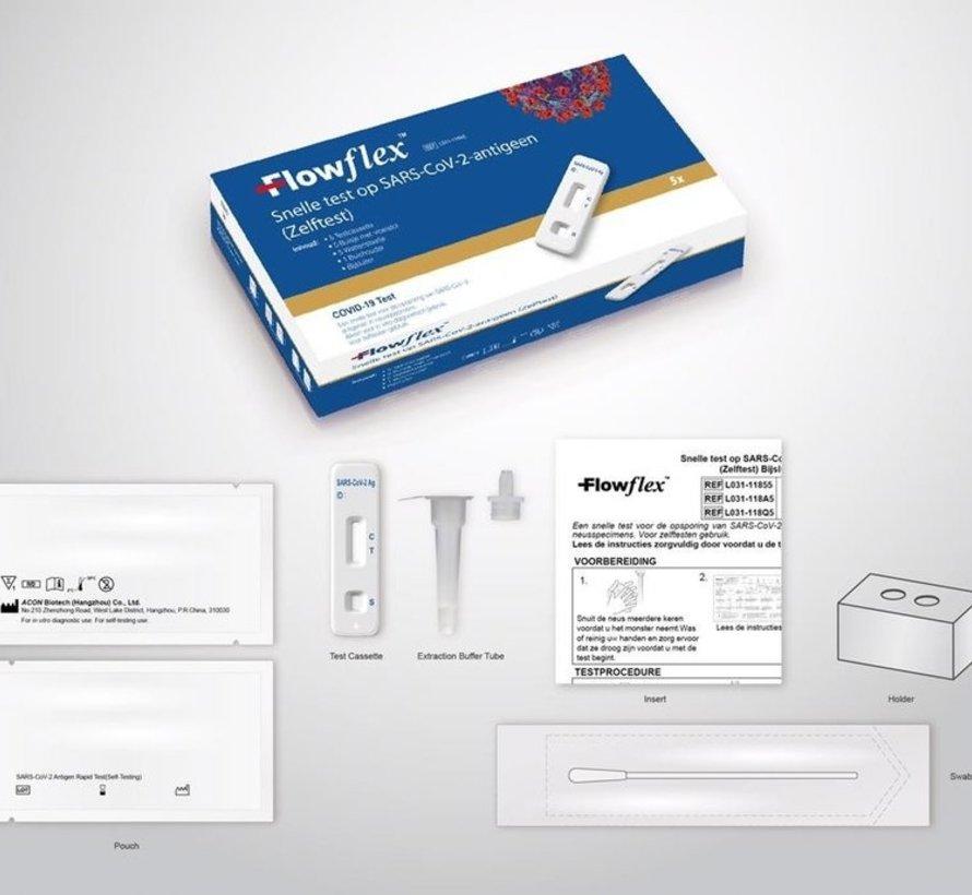 Flowflex Zelftest COVID-19 - Snel Test Neusswab - 5 Stuks