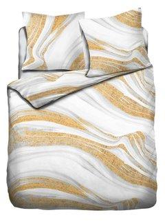 Refined Bedding Dekbedovertrek Marble White Gold