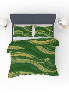 Refined Bedding Dekbedovertrek Marble Green Gold