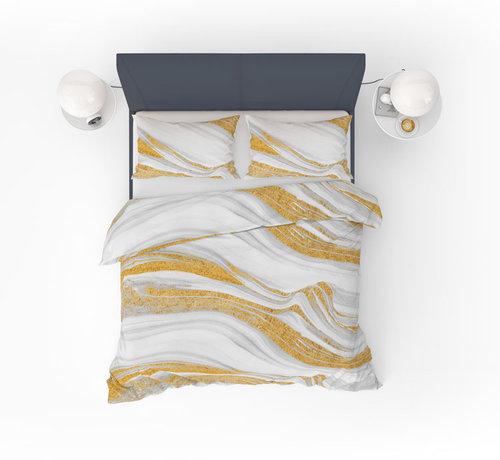 Refined Bedding Dekbedovertrek Marmer Wit Goud