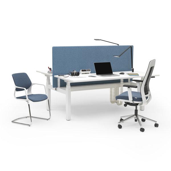 Duo zit sta bureau |  InMotion wit - midden eiken