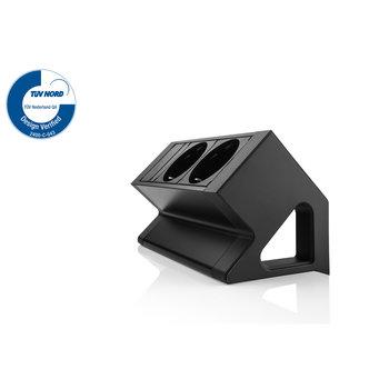 Filex Power Desk Up | 2x 230V, zwart-wit