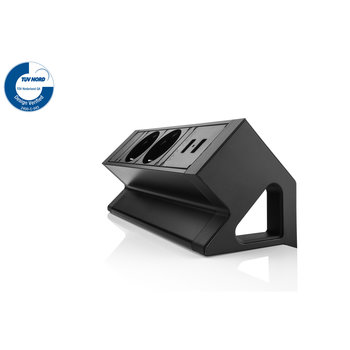 Filex Power Desk Up | opbouwmodule 2x 230V 2x USB Charge, zwart-wit
