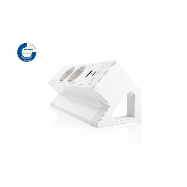 Filex Power Desk Up | opbouwmodule 2x 230V 2x USB A+C, zwart-wit