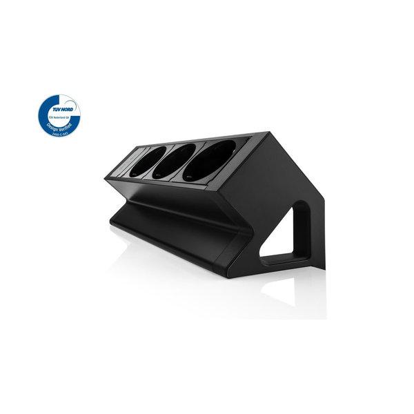 Filex Power Desk Up | opbouwmodule 3x 230V, zwart-wit
