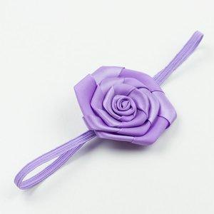 Baby haarbandje satijnen roosje (lila)