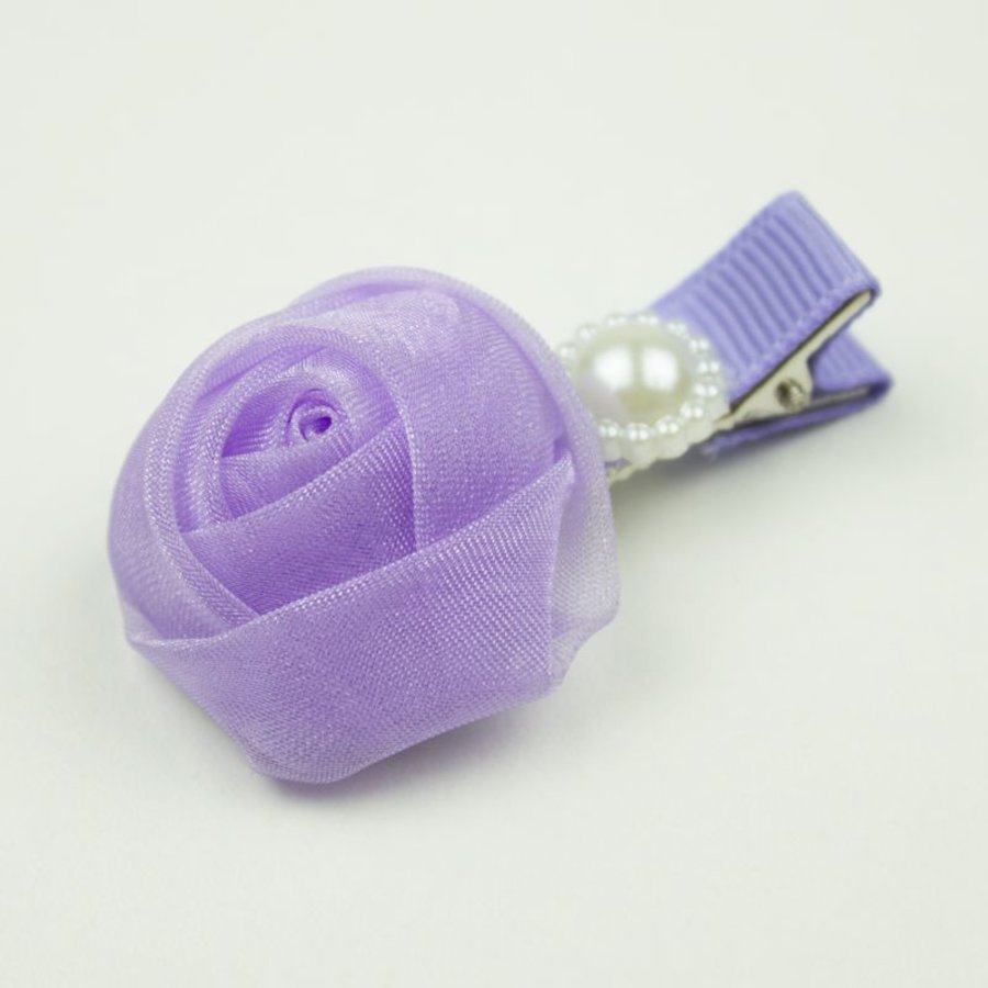 Baby haarspeldje met chiffon roosje en parel (lila)