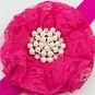 Baby haarbandje kanten bloem met parels (fuchsia)