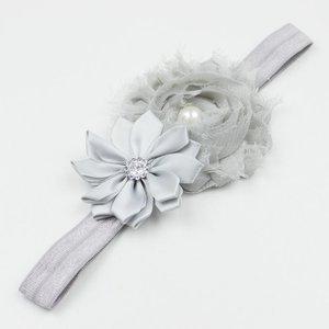 Baby haarbandje grijze shabby bloemen