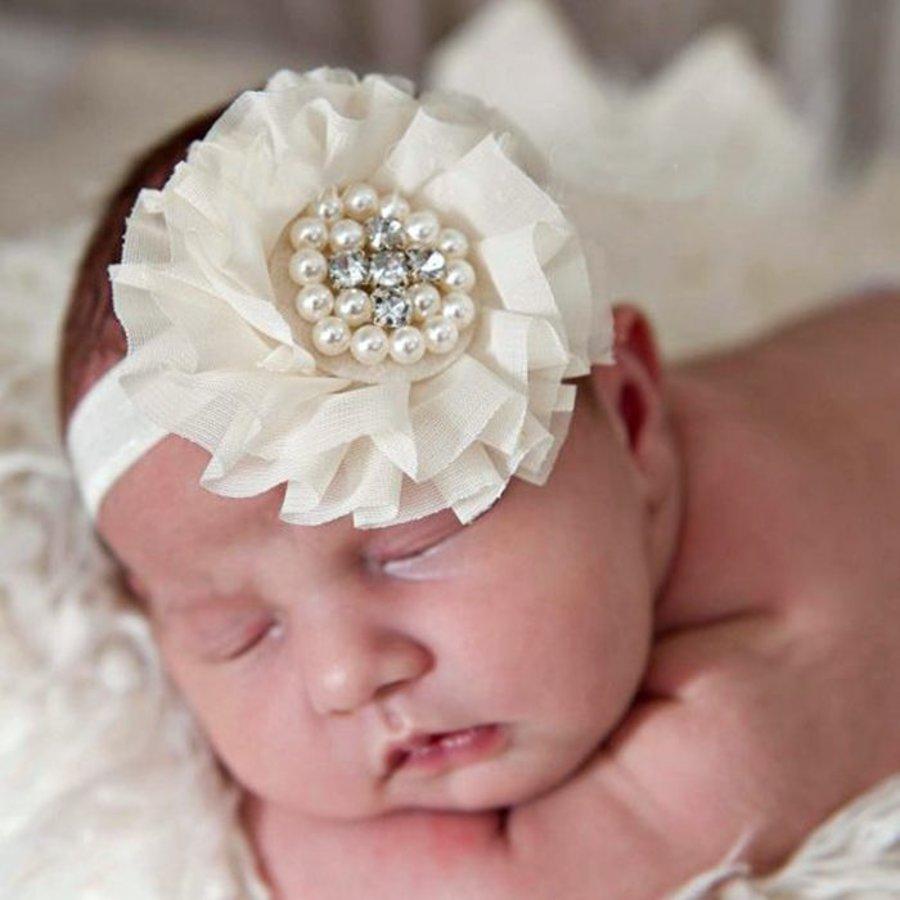 Baby haarbandje grote chiffon bloem (fuchsia)