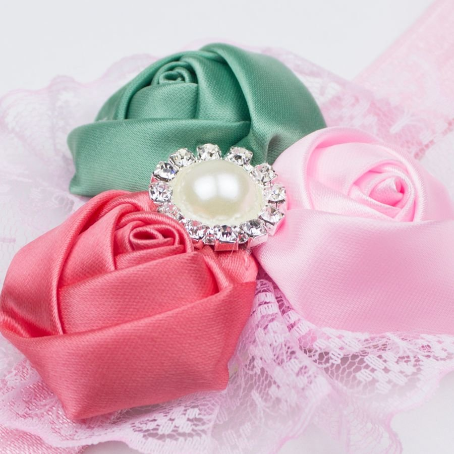 Baby haarbandje met kant (groen/roze/koraal)