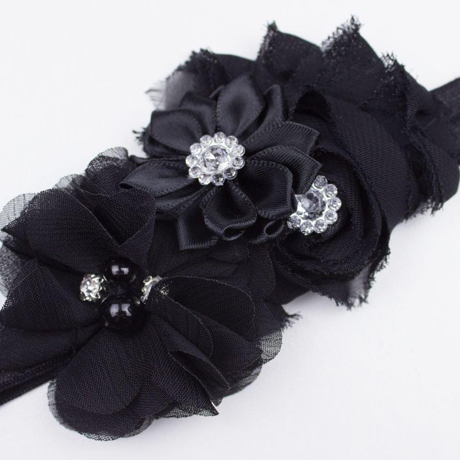Baby haarbandje drie bloemen met parels en strass zwart