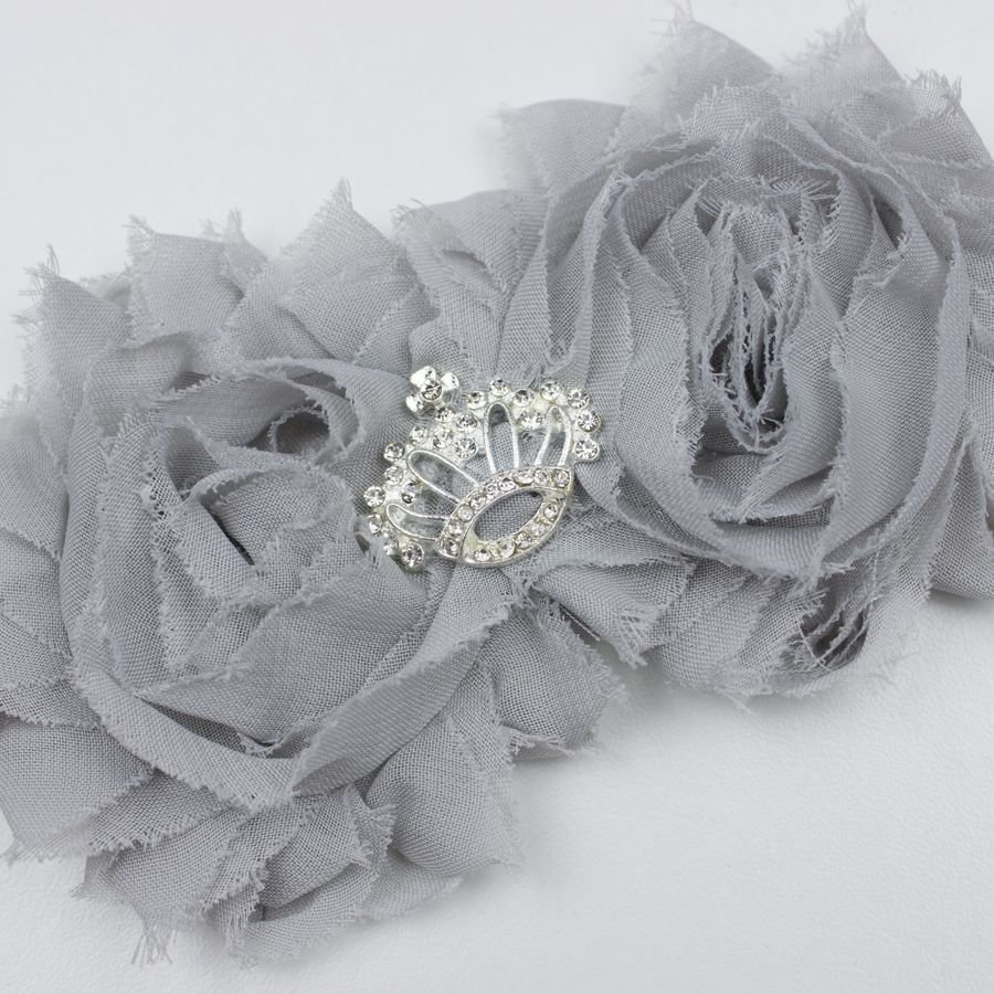Baby haarbandje met shabby bloemen met kroon (grijs)