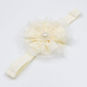 Baby haarbandje met kant/tule (ivoor)